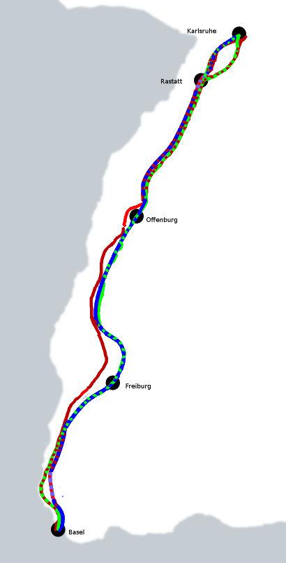 Neu- und Ausbaustrecken von Karlsruhe nach Basel